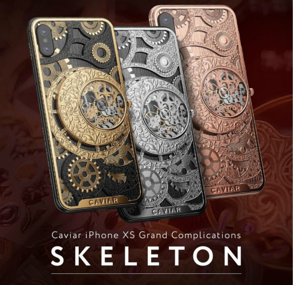 caviar offers a more than $6,000 custom-made iphone xs with a built-in mechanical skeleton watch